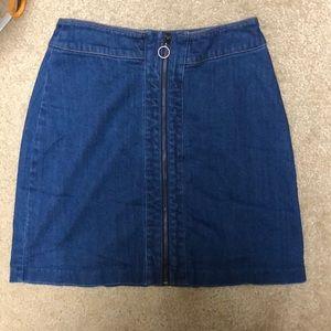 Zip-Up Denim Skirt